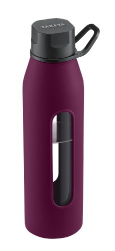 Takeya Classic Glass Water Bottle with Silicone Sleeve, Purple, 22-Ounce