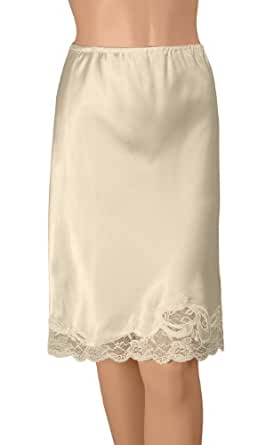 Gemsli Satin Pleasure, Satin Half Slip with Novelty Lace, Cling Free, Small-22 Inches Taupe