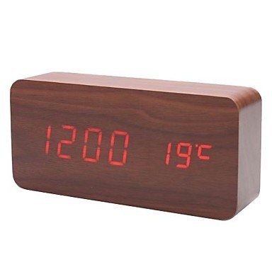 KABB Red LED Brown Wood color Cuboid Digital Clock Alarm Thermometer Temperature Function Clap On Sound Control Clock