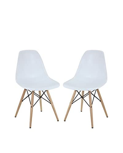 Modway Set of 2 Pyramid Dining Side Chairs, White
