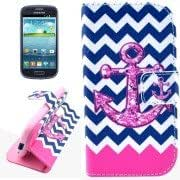 Anchor Pattern Leather Case with Holder Card Slots Wallet for Samsung Galaxy S III mini / i8190