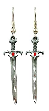 Surgical Steel Dangle Earrings Fantasy Sword Red and Silver
