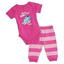 Dr. Seuss Short Sleeve Bodysuit and Pants, Pink Horton, 3 Months