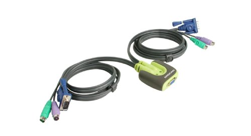 2PORT PS/2 Miniview Micro KVM Switch with Built In Cables