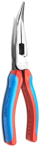 Channellock E388CB E Series 8-Inch Bent Long Nose Plier with XLT Joint and Code Blue Grips
