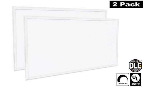 Luxrite LR24058 (2-Pack) 72W 2×4 FT LED Panel, Dimmable, Bright White 5000K, 6500 Lumens, 24×48 Inch, UL-Listed, DLC-Listed (Eligible for Rebate Programs)
