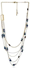 """Kenneth Cole New York """"City Surf"""" Blue Mixed Bead Illusion Necklace"""