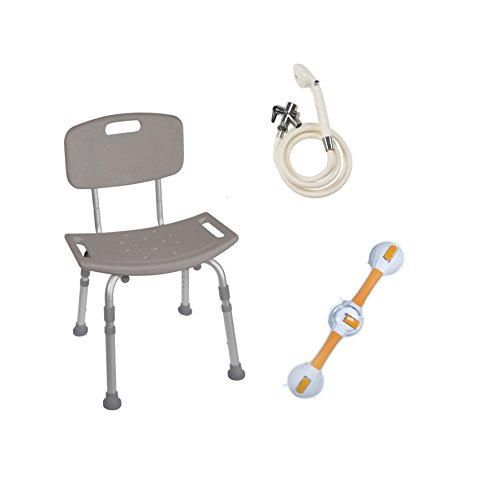 Drive Medical Shower Tub Chair Grab Bar Safety Bundle, Gray/White