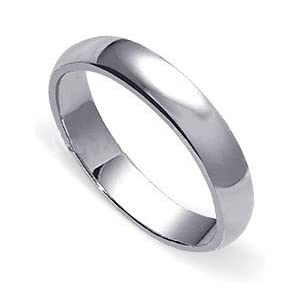 sterling silver high polish plain 4 mm wedding band ring