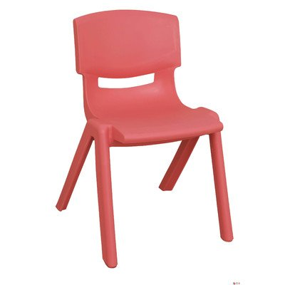 "Ecr4kids Kids Room and School Comfortable Resin Activity Polypropylene Classroom Stackable Single Chair 15"" Inches Height - Red - 1"