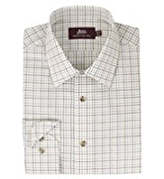 2in Longer Pure Cotton Herringbone Fine Checked Twill Shirt
