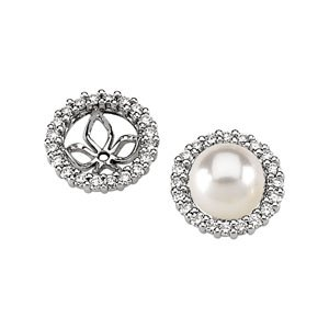 14k White Gold Pearl Earring Jacket 5/8ct - JewelryWeb