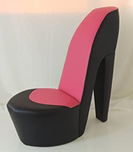 Pink high heel chair black amp pink faux leather shoe high heel