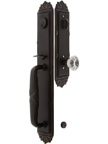 """Imperial Style Tubular Handleset In Oil Rubbed Bronze With Astoria Knobs And 2 3/4"""" Backset. Antique Door Handle. front-1004915"""