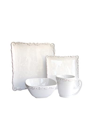 American Atelier Bianca Wave White 16-Piece Square Dinnerware Set