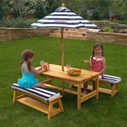Personalized Outdoor Table and Bench Set - Font: Block, Font Color: Pink from KidKraft