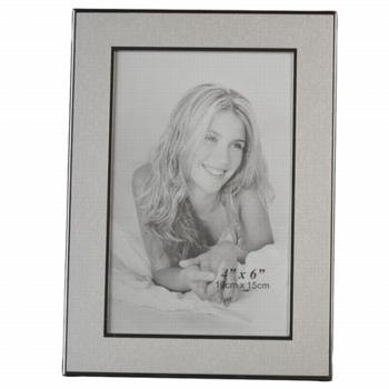 Silver Brushed and Polished Metal Engravable Photo 4x6 Picture Frame Wholesale