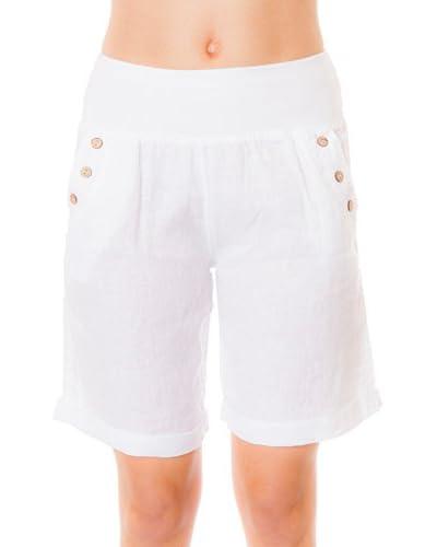 100% Linen Short Blanco