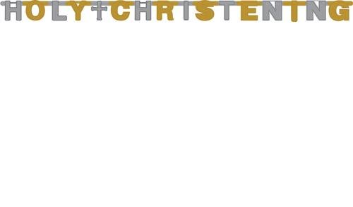 Holy Christening Foil Jointed Banner - 5.5 Feet Long