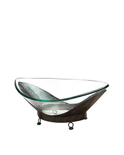 Deco 79 Glass Bowl on Metal Stand, Brown/Clear