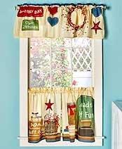 Laundry Room Decor - 3pc. Curtain Set
