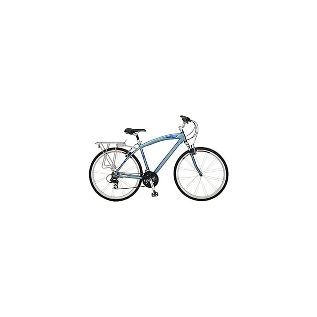 Schwinn Broadway Mens Hybrid Bike Blue Features Shimano Easy Fire 21 Speed Shifters, Aluminum Hybrid Frame