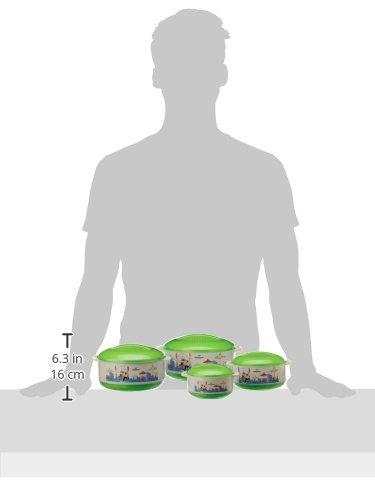 Princeware Elite Plastic Casserole Set, 4-Pieces, Green