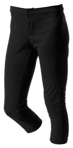 A4 Adult Double Knit Elastic Waist Zipper Front Softball Pant, Black, Xx-Large