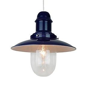 "Navy Blue 12"" Fishermans Lantern Lampshade Retro Ceiling Light Fitting Shade"