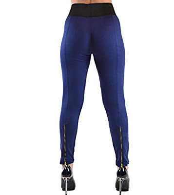 High Waisted Elastic 2 Zipper Pocket Legging Pants