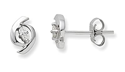 Miore 9 ct White Gold 0.04 ct Diamond Stud Earrings