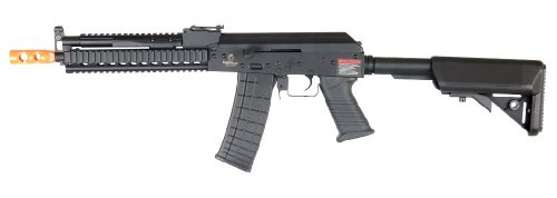 Lancer Tactical Lt-11 Beta Project Ak-47 Ris Electric Airsoft Gun Full Metal Body & Gearbox Fps-380 W/ High Capacity Magazine (Black)
