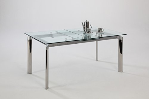 Chintaly Imports Pop-up Extension Glass Dining Table, Stainless Steel/Clear (Glass Extension Table compare prices)