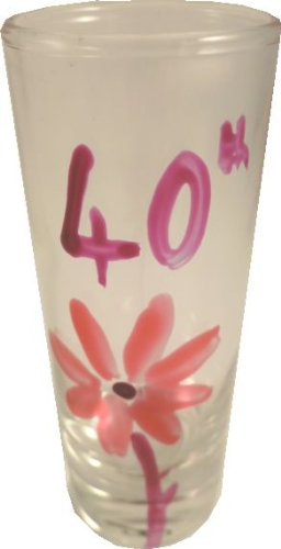 40th Birthday Pink Flower Shot Glass (Tall)