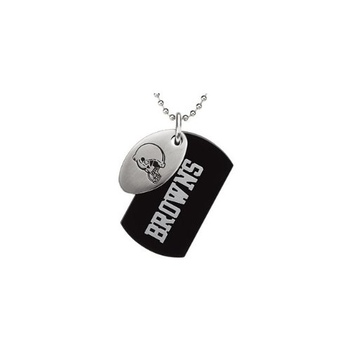 9 St Steel 45mm Cleveland Browns NFL Football Team Jewelry Men 2 Dog Tag W/Chain