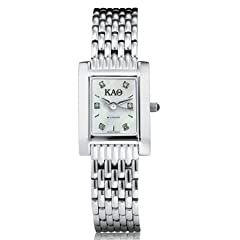 Buy Kappa Alpha Theta Ladies Mother of Pearl Quad Watch with Diamond Dial & Bracelet by M.LaHart & Co.