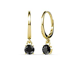 Black Diamond Four Prong Solitaire Dangling Earrings 0.55 ct tw in 14K Yellow Gold