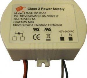 Pack Of One (1), 12V 12W Constant Voltage Dc Led Driver Ul Approved Outdoor