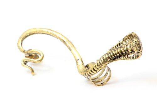 King Cobra Snake Earring Ear Cuff Metal Wrap Pharaoh Snake Gold Tone Serpent Animal Fashion Jewelry
