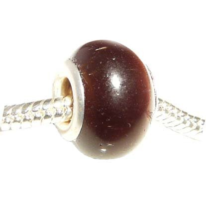Hidden Gems Cats Eye (269) Silver Plated Double Core Glass Bead, will fit Pandora/Troll/Chamilia Style Charm Bracelet.