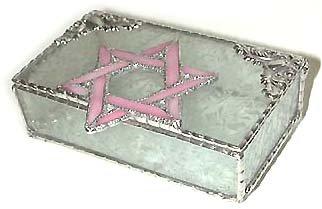 "Perfect Bat Mitzvah Gift - Pink Stained Glass Jewelry Box - Jewish Design - 3 1/2"" x 6"" Reviews"