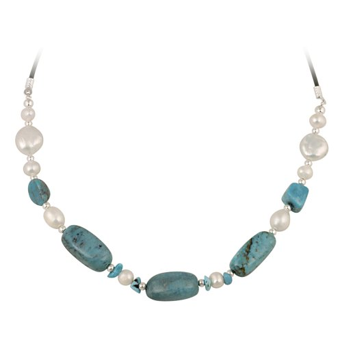 Sterling Silver Bead, Turquoise and Freshwater Cultured Pearl Leather Cord Necklace, 16+3