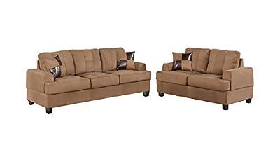 Poundex Bobkona Arcadia Microfabric 2-Piece Sofa and Loveseat Set, Saddle