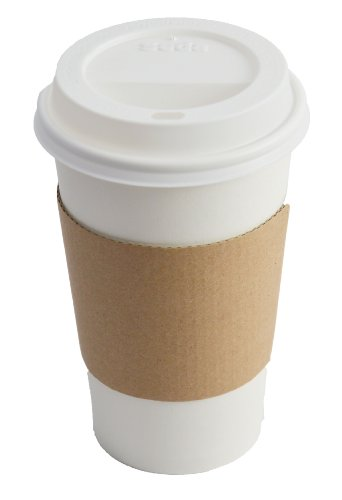 Bizitown Kit: Paper Hot Cups, Lids, Sleeves & Recipe; White w/Kraft Sleeve, 16oz (50 Count)