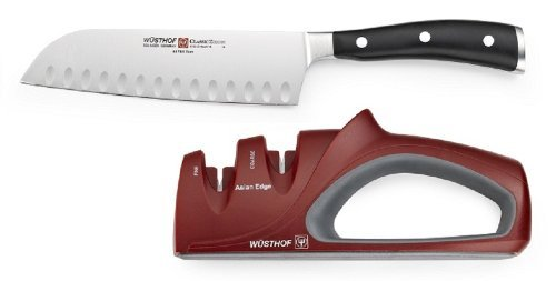 Wusthof Classic Ikon Santoku With Red 2-Stage Asian Edge Sharpener, 7 Inch