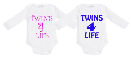 Spoilt Rotten - Twins 4 Life Twin Set Long Sleeve Babygrows / Bodysuit Alternative Baby Clothes 100% Organic Sizes 0-6 months WHITE/BLACK in funky Milk Carton