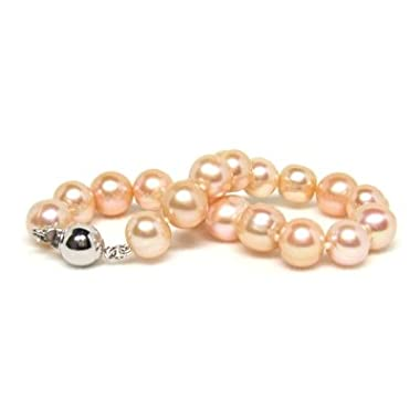 HinsonGayle Naturally Pink 8.5-9.5mm Circl&eacute; Baroque Cultured Pearl Bracelet (Sterling Silver)