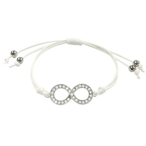 Adjustable Rhinestone Infinity Corded Bracelet, White and Silver Tone