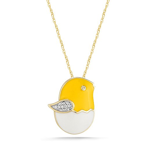 10k Yellow Gold Diamond Yellow and White Enamel Baby Chick Pendant (0.02 cttw, I-J Color, I2-I3 Clarity), 18