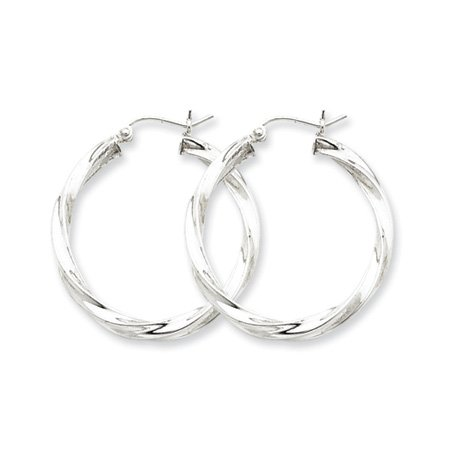 3mm, Silver, Twisted Hoop Earrings - 35mm (1-3/8